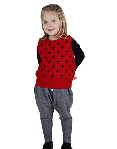 YOUJIA Unisex Baby Weste Ärmellose Strickweste Top Pullunder Für Kinder (Rot,110CM)