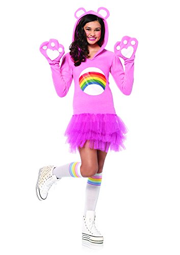 Leg Avenue Junior's Care Bears Cheer Bear Costume, Light Pink, Small/Medium (Adult Care Bears Cheer Bear Costume)