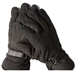 AVB®-Genuine Accessory -Black Soft Leather Warm Winter Riding Gloves, Protective Cycling Byke Bike Motorcycle Glove for Men, Boys, Male Gents Universal Size (Black)