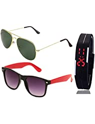 GOLDEN GREEN AVIATOR SUNGLASSES AND BLACK RED WAYFARER SUNGLASSES WITH TPU BAND RED LED DIGITAL BLACK DIAL UNISEX...