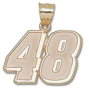 Jimmie Johnson Giant Driver Number 48 1 1 2 Pendant - 14KT Gold Jewelry by Logo Art