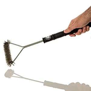 "Grill Brush 18"" - Heavy Duty BBQ Tool - Stainless Steel Bristles Far More Durable Than Brass - Safe for Porcelain Enamel Grates - Free Bonus e-Book - Long Wire Handle - One of the Best BBQ Accessories and Tools Around - This BBQ Grill Brush is the Perfect"