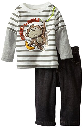 Kids Headquarters Baby-Boys Newborn Stripes Twofer Top With Black Jeans Monkey, Gray, 3-6 Months front-978027