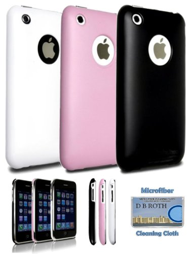Set of 3 Polycarbonate Slim Fit Cases for iPhone 3G / 3GS Black Pink and White + DBROTH Microfiber Cleaning Cloth