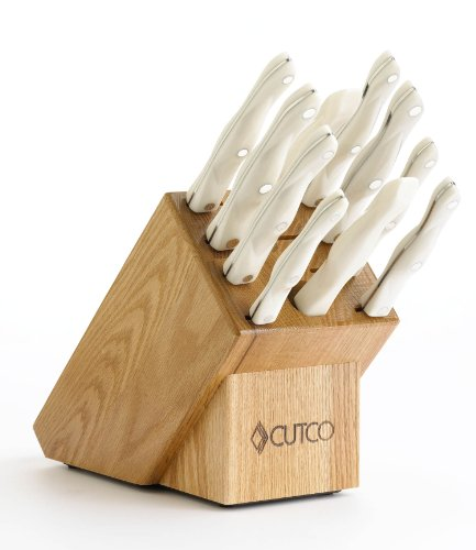 CUTCO Model 1801 Homemaker Set with White (Pearl) Handles and #1725 full size chef knife...............10 High Carbon Stainless knives & forks in factory-sealed plastic bags............#1741 Honey Oak knife block, #82 Sharpener, and 10
