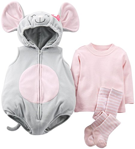 Carter's Halloween Baby Costume Silly Mouse 3 Pcs Top Tee Shirt Tights 6-9 Mos