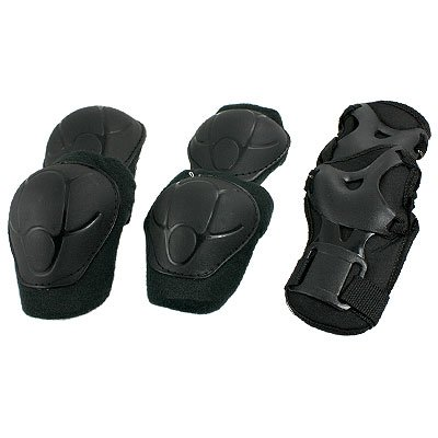 3 Sets Skating Gear Knee Elbow Wrist Support Black Pads for Child