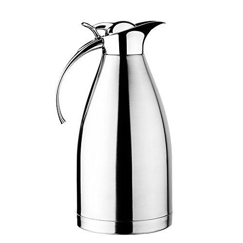 Hiware 68 Oz Stainless Steel Thermal Coffee Carafe, Double Walled Vacuum Insulated Carafe with Press Button Top, Quality Thermal Pitcher, Beverage Dispenser, 2-liter (Vacuum Insulated Thermal Carafe compare prices)