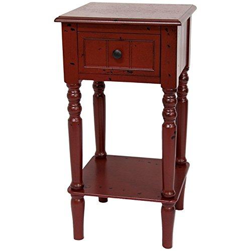 "Oriental Furniture 28"" Classic Design Square Accent Table - Antique Red"