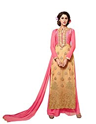 Amyra Women's Georgette Dress Material (AC837-09, Beige)