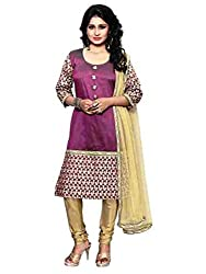 BanoRani Womens Wine Color Silk Dupion & Golden Chicken Embroidery Semi Stitched Dress Material (Chudidar)