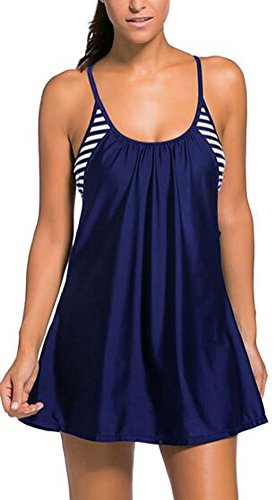 sunifsnow-donna-sexy-tankini-top-flowing-swim-vestito-a-strati-ritaglio-bikini-dark-blue-medium