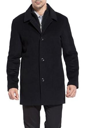 MODERM Men's 'Justin' Cashmere Blend Car Coat - Black M