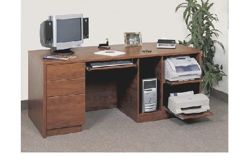 Buy Low Price Comfortable Home Office Furniture, Double Pedestal Computer Desk (B002KNXCG4)