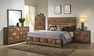 Cute Roundhill Furniture Calais Solid Wood Construction Bedroom Set with Bed Dresser Mirror Night ue ue