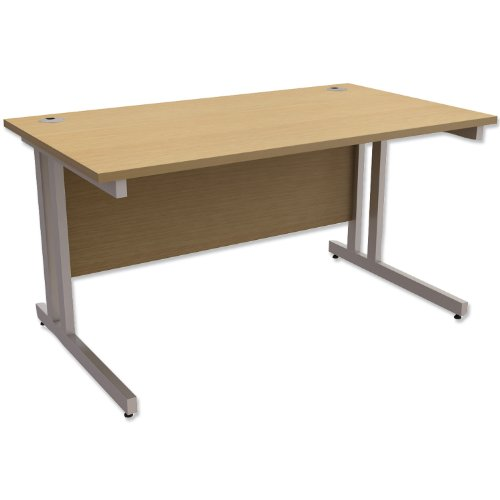 Trexus Contract Plus Cantilever Desk Rectangular Silver Legs W1400xD800xH725mm Oak
