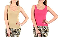 Lady Heart Women's Pink & Beige Cotton Regular Strap Tank Top Camisole Free Size - S / M / L . Pack Combo of 2