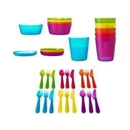 Ikea 36 Pcs Kalas Kids Plastic BPA Free Flatware, Bowl, Plate, Tumbler Set, Colorful, FREE BAG