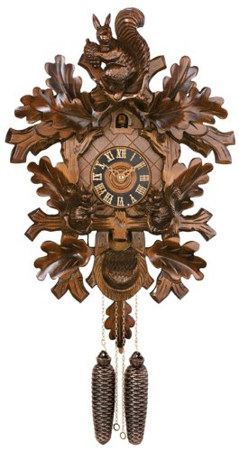 River City Clocks 835-16 Eight Day Cuckoo Clock with Hand-Carved Oak Leaves And Three Squirrels Feeding, 16-Inch Tall