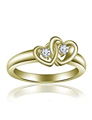 14K Yellow Gold Over .925 Silver Round Cut Double Heart Rings For Women's