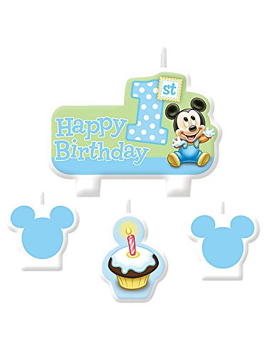 Mickey Mouse 1St Birthday Mini Cake Candle Set (4Pc) front-477126