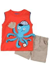 Mini Bean Infant Boys Orange Octopus T-Shirt & Tan Shorts Set Baseball Outfit