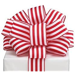 """Red Stripes Wired Ribbon #9 1.5"""" X 20 Yards Florist"""