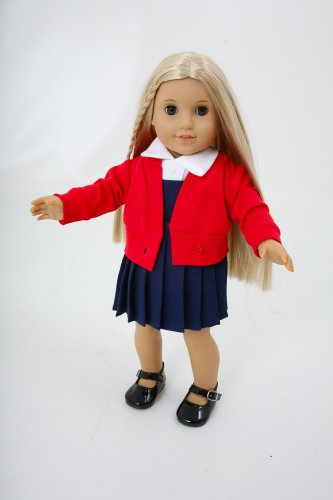 SMALL DOLLS WINTER SCHOOL UNIFORM , WHITE BLOUSE/NAVY PINAFORE/RED CARDY/REDBOOK BAG