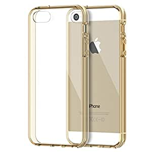 iPhone SE Case, JETech® Apple iPhone 5/5S/SE Case Bumper Cover Shock-Absorption Bumper and Anti-Scratch Clear Back for iPhone 5 5S SE (Gold)