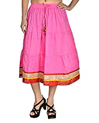 Aura Life Style Women's Cotton Loose Fit Ethnic Skirt (ALSK4017D, Pink, Free Size)
