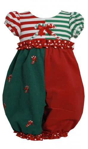 Red Green Colorblock Candy Cane Applique Romper/Jumpsuit Rd0Ch Bonnie Jean Baby-Newborn Special Occasion Holiday Bnj Romper-Jumpsuit, Red