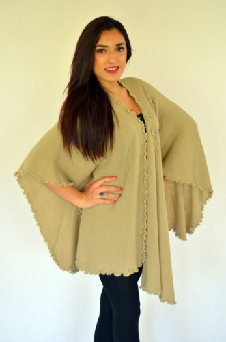 Ladies Knitted,Ruana-Wrap-Shawl-Cape,With Ruffle Edge,Made in Alpaca Wool