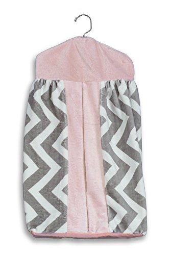 Baby Doll Minky Chevron Diaper Stacker, Pink