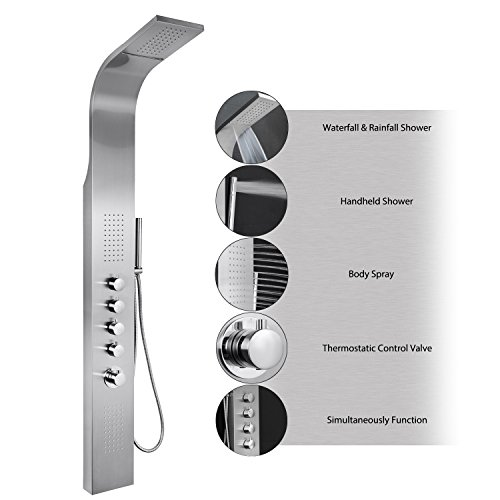 AKDY-63-Stainless-Steel-Thermostatic-Rainfall-Waterfall-Style-Multi-Function-Shower-Tower-Panel-Massage-System-w-Handheld-Wand
