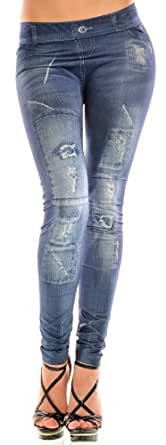 Jeans Leggings Destroyed Look, S/M, Blau