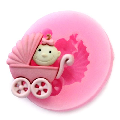 Longzang Mini Baby Carriage F0530 Fondant Mold Silicone Sugar Mold Craft Molds Diy Gumpaste Flowers Cake Decorating