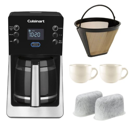 Cuisinart DCC2800 Perfectemp 14-cup Programmable Coffeemaker + Cuisinart GTF Gold Tone Filter + Cuisinart DCC-RWF Replacement Water Filters 2 Pack + Two 13oz White Tiara Cappuccino Cups