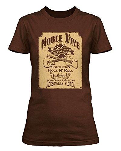 Inspired-Lynyrd Skynyrd The Noble Five-Maglietta, donna Marrone caffè medium