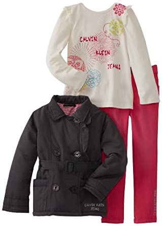 Calvin Klein Little Girls' Jacket With Tee And Pink Jean, Gray, 4