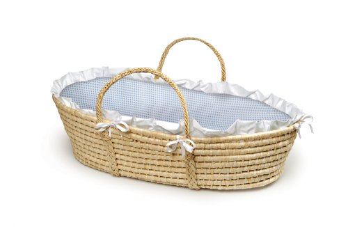 Discover Bargain Badger Basket Company Natural Baby Moses Basket - Blue Gingham Bedding