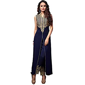 Wear Georgette Salwar Kameez Pakistani Free Size Navy Blue: Clothing