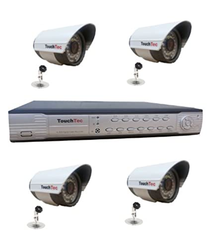 TouchTec 4 Channel DVR+ 4 Bullet IR 600 TVL CCTV Camera(5Pcs)