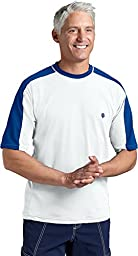 Coolibar UPF 50+ Men\'s Short Sleeve Crewneck Swim Shirt (Small - White/Royal)