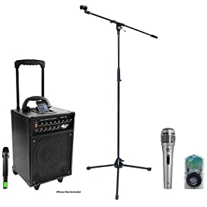 Pyle Speaker, Mic, Cable and Stand Package - PWMA930I 600 Watt VHF Wireless Portable PA Speaker System/Echo W/Ipod Dock - PDMIK1 Professional Moving Coil Dynamic Handheld Microphone - PMKS2 Tripod Microphone Stand w/Boom - PPFMXLR15 15ft. XLR Male to XLR Female Microphone Cable