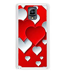 Red White Hearts 2D Hard Polycarbonate Designer Back Case Cover for Samsung Galaxy Note 3 :: Samsung Galaxy Note III :: Samsung Galaxy Note 3 N9002 :: Samsung Galaxy Note N9000 N9005
