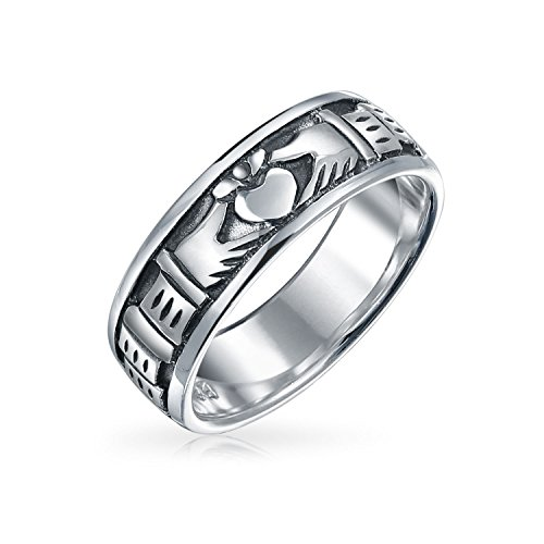 Bling Jewelry Sterling Silver anticato Fine Claddagh Band Ring