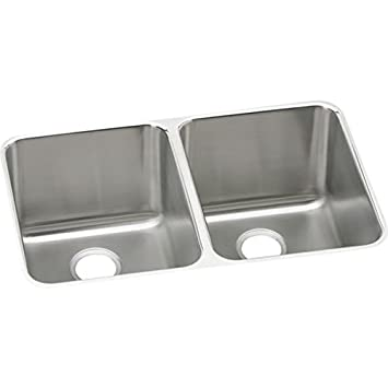 Elkay ELUH3220 Gourmet 20-Inch x 31-1/4-Inch Double Basin Undermount Stainless Steel Kitchen Sink