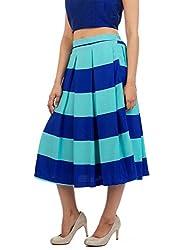 Myrah Women's Pleated Skirt (Amz001_Blue_M)