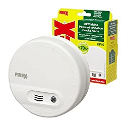 2 x Kidde Firex KF10 (4870) Mains Smoke Alarm Ionisation Sensor with 9V Built in Battery Back Up / Test and Hush Button from Kidde