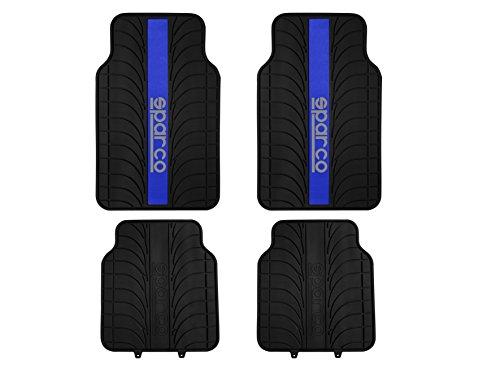 sparco-corsa-spc1913az-jeu-de-4-tapis-sparco-noirs-100-latex-avec-bande-bleue